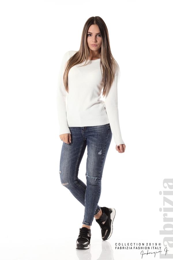 Дамска изчистена блуза с дълъг ръкав бял 2 fabrizia