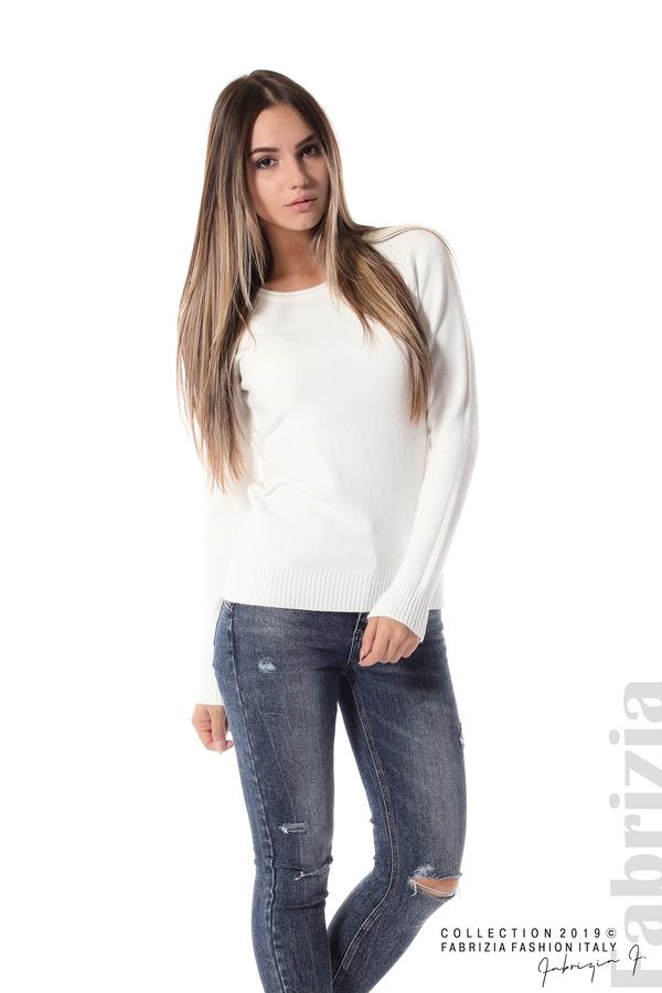 Дамска изчистена блуза с дълъг ръкав бял 3 fabrizia