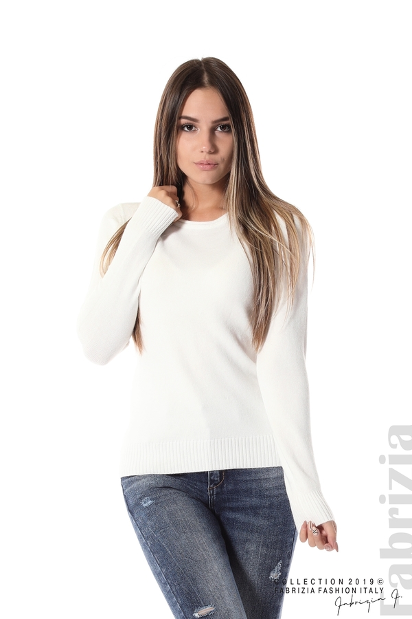Дамска изчистена блуза с дълъг ръкав бял 1 fabrizia