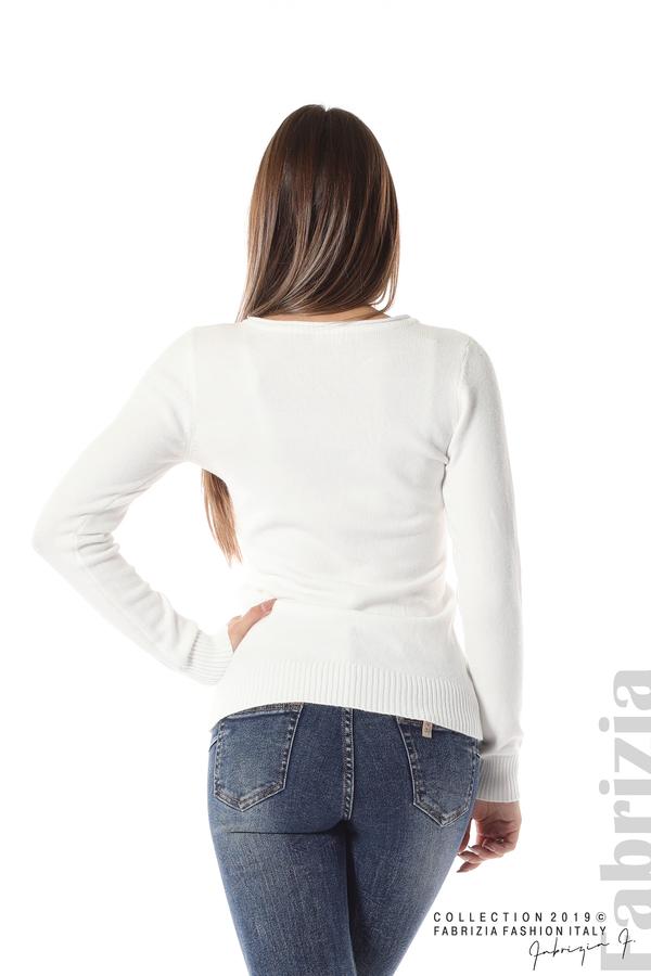 Дамска изчистена блуза с дълъг ръкав бял 4 fabrizia