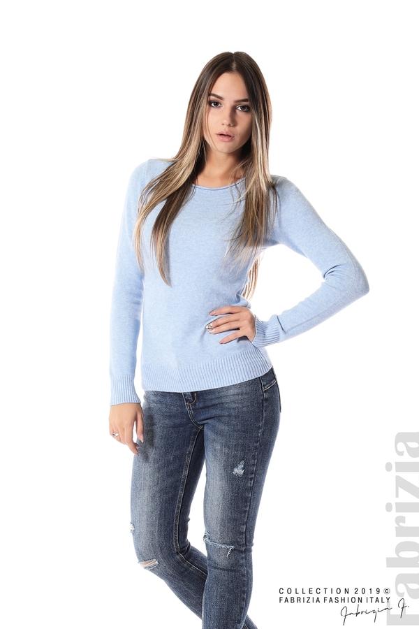 Дамска изчистена блуза с дълъг ръкав св.син 2 fabrizia