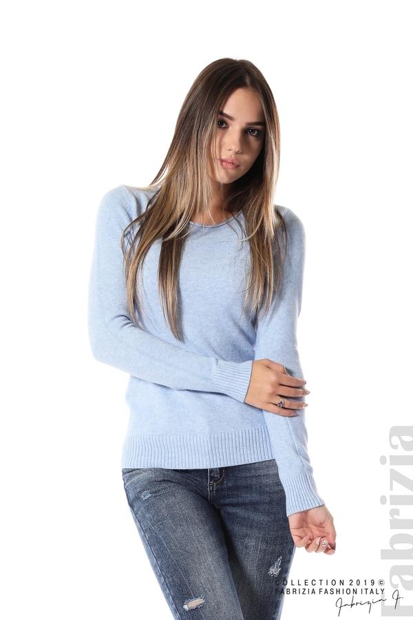 Дамска изчистена блуза с дълъг ръкав св.син 1 fabrizia