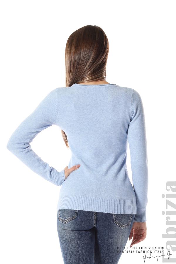 Дамска изчистена блуза с дълъг ръкав св.син 4 fabrizia