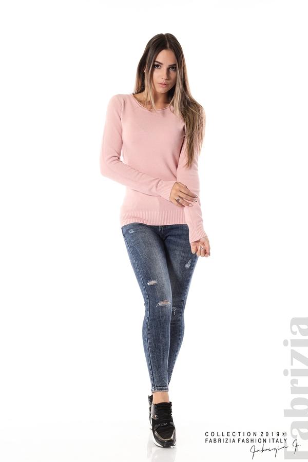 Дамска изчистена блуза с дълъг ръкав розов 2 fabrizia