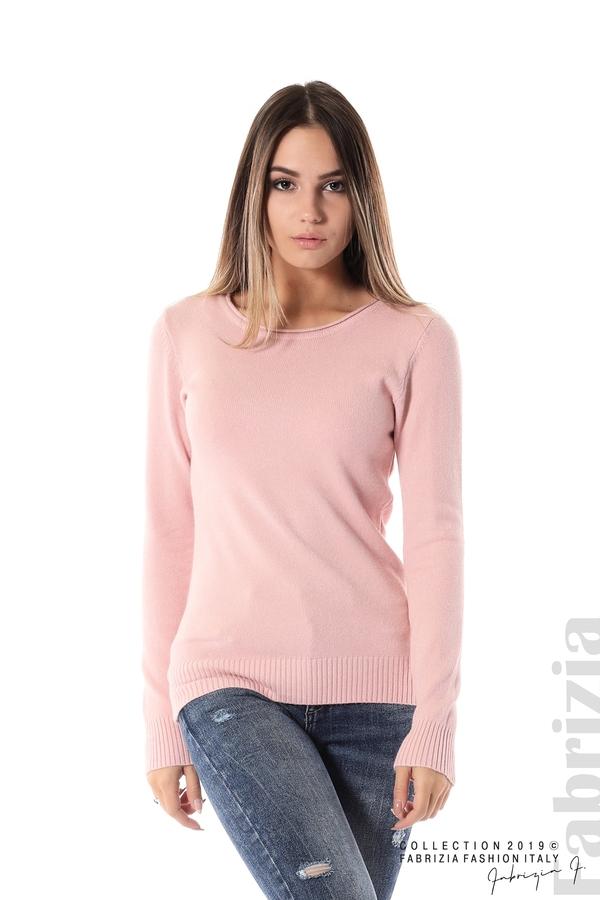 Дамска изчистена блуза с дълъг ръкав розов 1 fabrizia