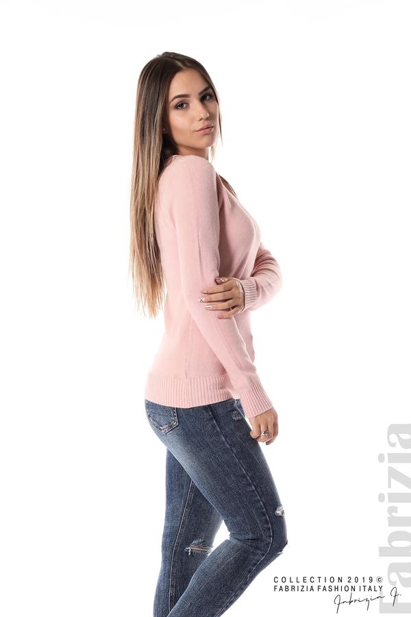 Дамска изчистена блуза с дълъг ръкав розов 3 fabrizia
