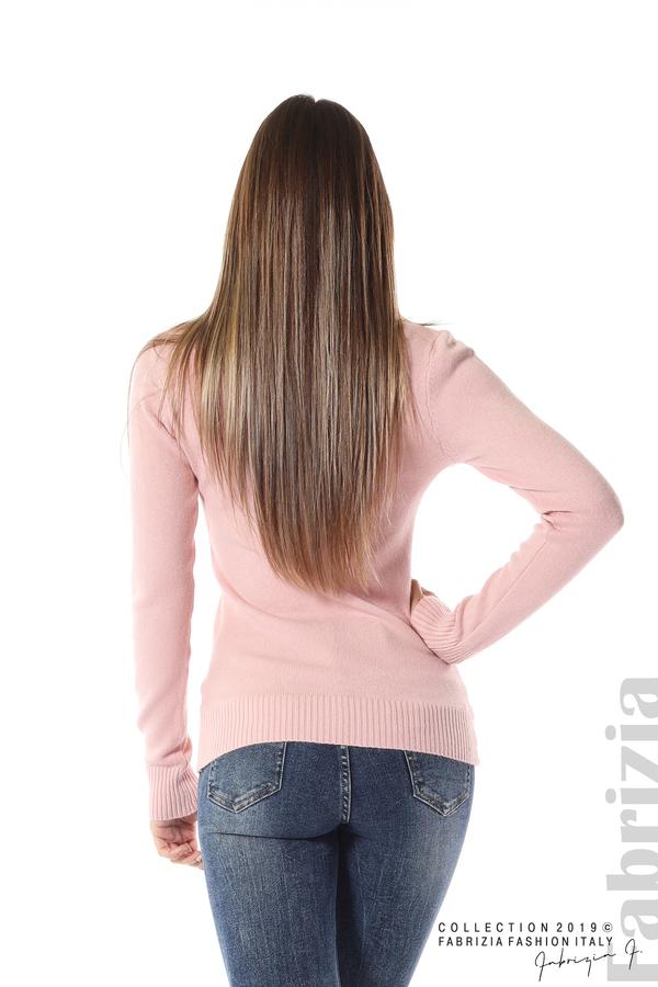 Дамска изчистена блуза с дълъг ръкав розов 4  fabrizia