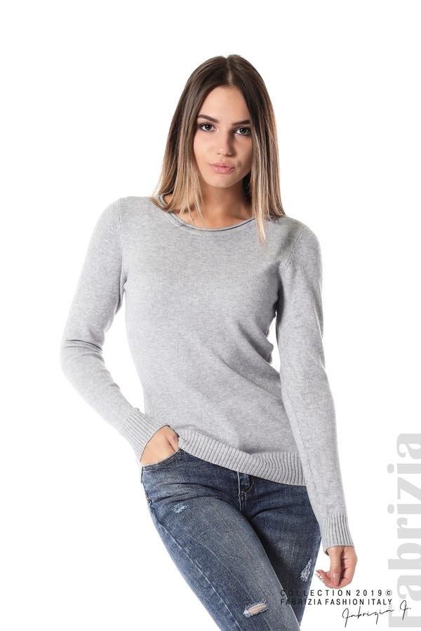 Дамска изчистена блуза с дълъг ръкав сив 1 fabrizia