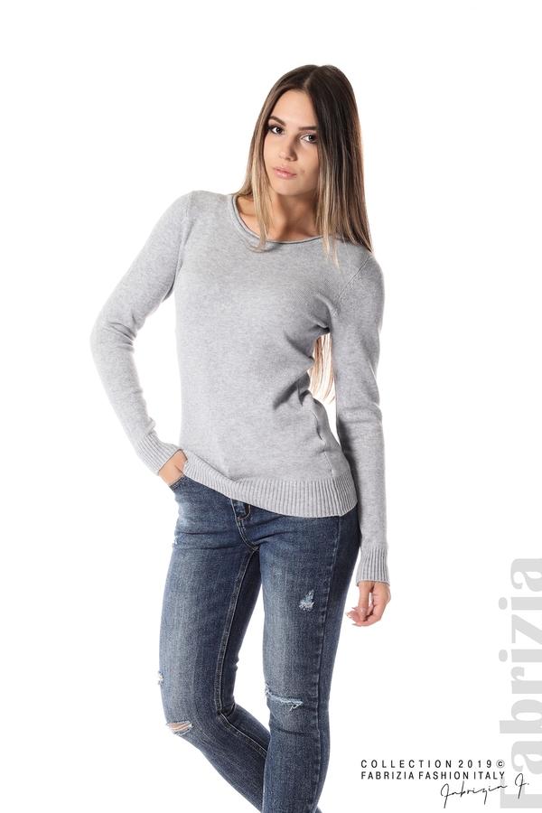 Дамска изчистена блуза с дълъг ръкав сив 2 fabrizia