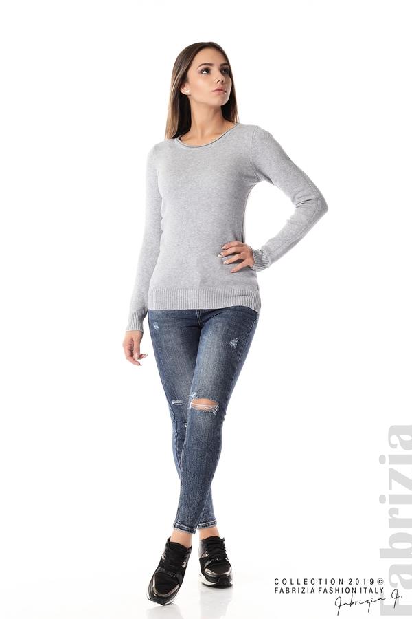 Дамска изчистена блуза с дълъг ръкав сив 3 fabrizia