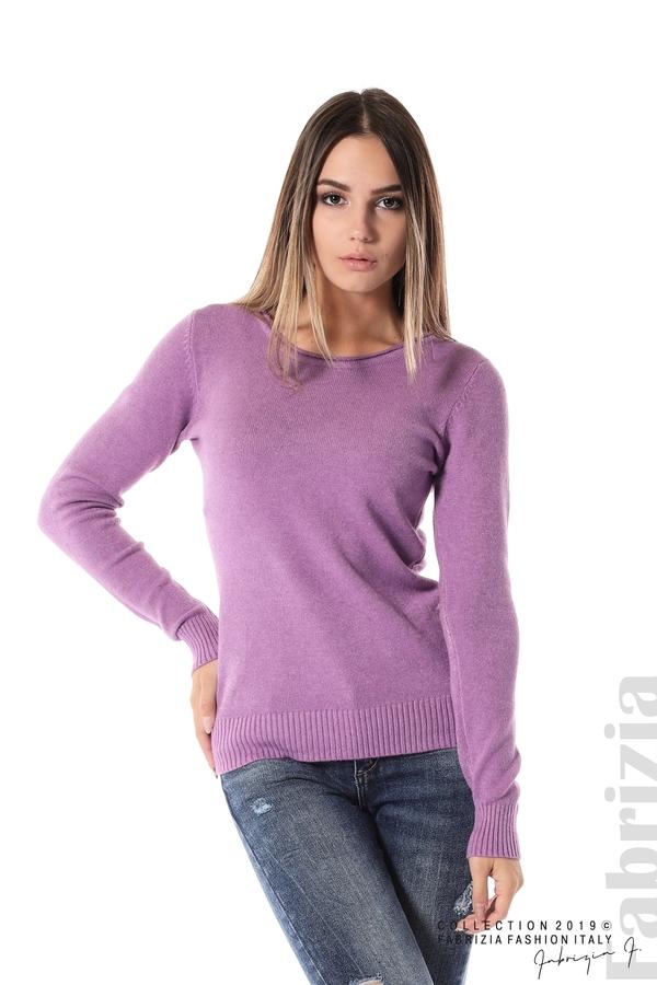 Дамска изчистена блуза с дълъг ръкав лилав 1 fabrizia