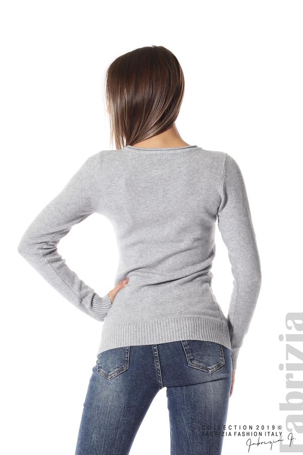 Дамска изчистена блуза с дълъг ръкав сив 4 fabrizia