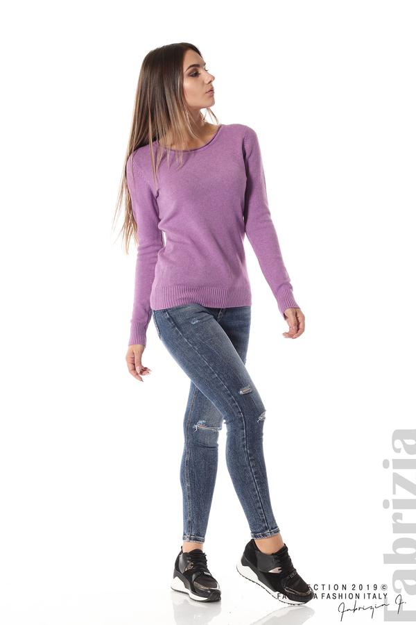 Дамска изчистена блуза с дълъг ръкав лилав 3 fabrizia