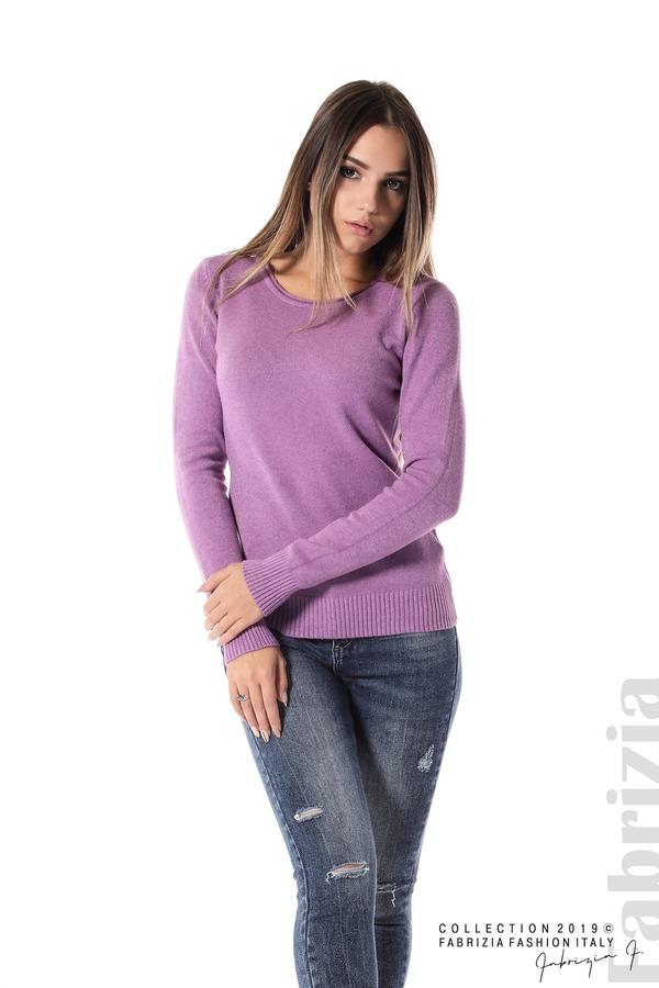 Дамска изчистена блуза с дълъг ръкав лилав 2 fabrizia