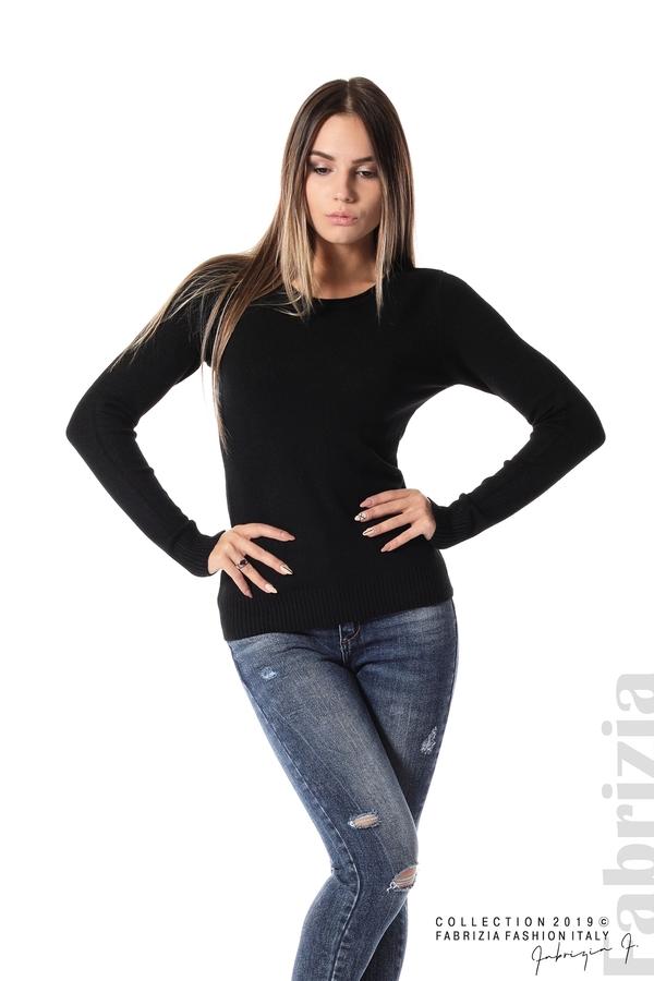 Дамска изчистена блуза с дълъг ръкав черен 2 fabrizia