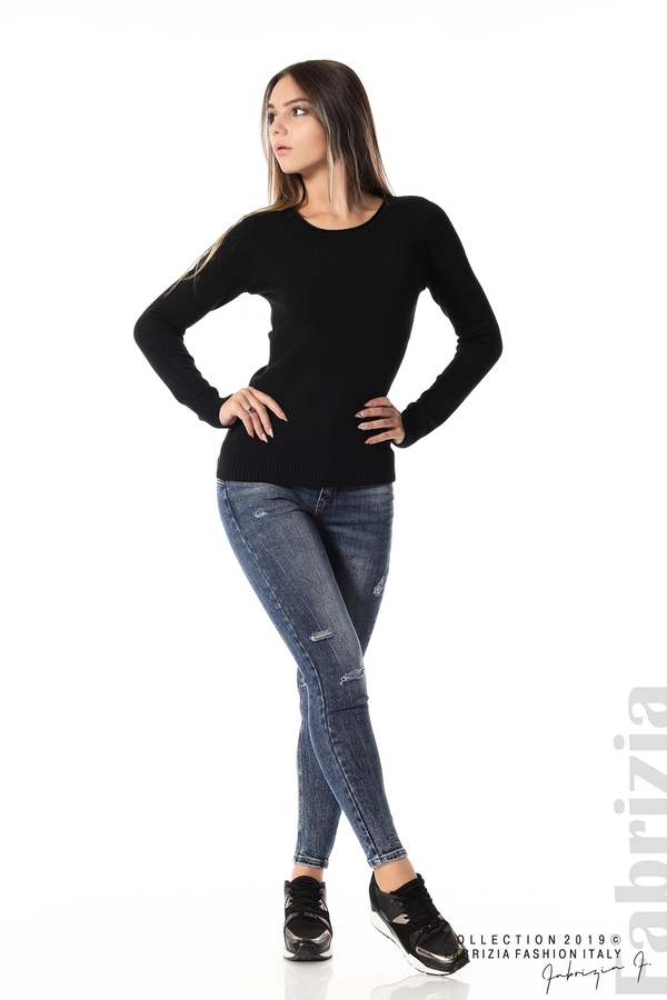 Дамска изчистена блуза с дълъг ръкав черен 3 fabrizia