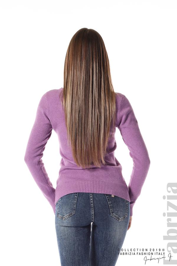 Дамска изчистена блуза с дълъг ръкав лилав 4 fabrizia