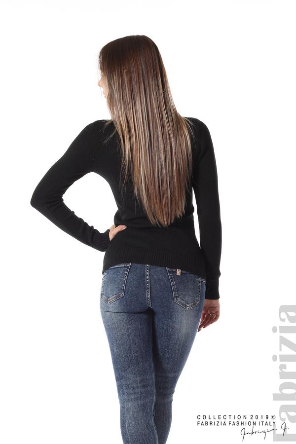 Дамска изчистена блуза с дълъг ръкав черен 4 fabrizia