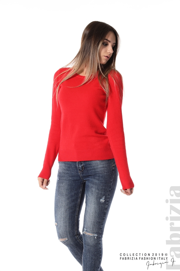 Дамска изчистена блуза с дълъг ръкав червен 3 fabrizia