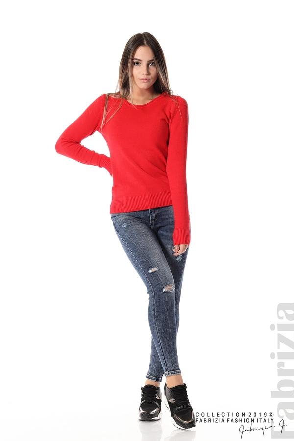 Дамска изчистена блуза с дълъг ръкав червен 2 fabrizia