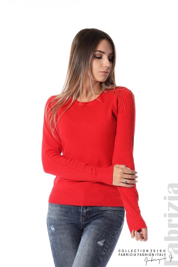 Дамска изчистена блуза с дълъг ръкав червен 1 fabrizia