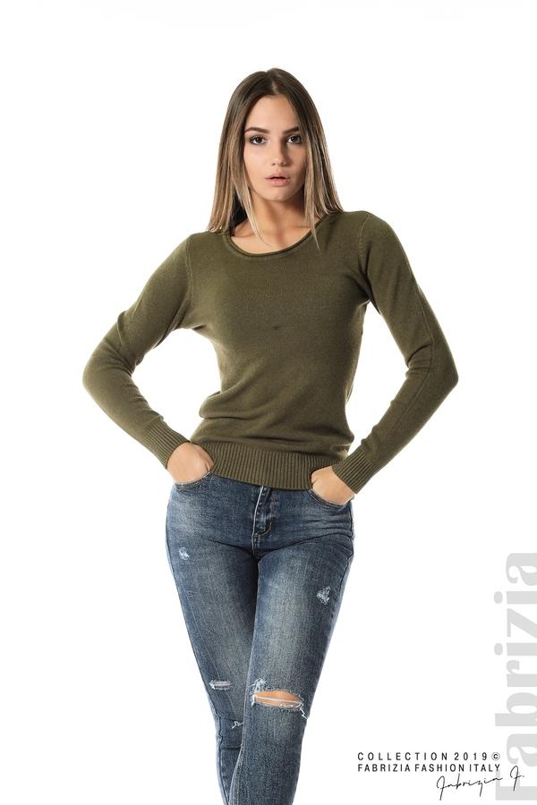 Дамска изчистена блуза с дълъг ръкав каки 3 fabrizia