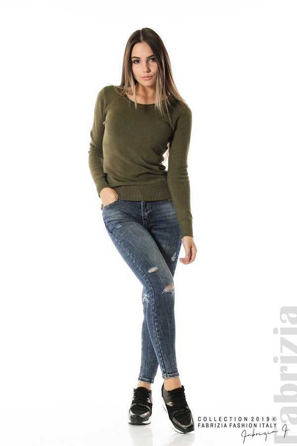 Дамска изчистена блуза с дълъг ръкав каки 2 fabrizia