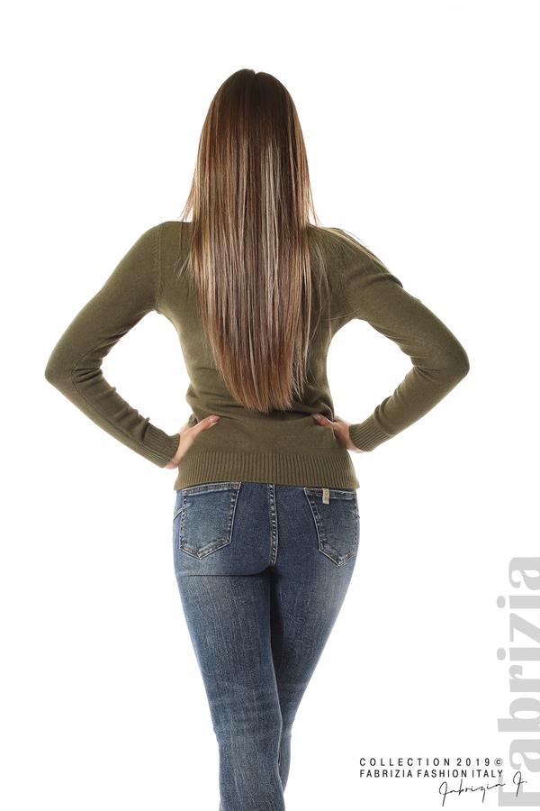 Дамска изчистена блуза с дълъг ръкав каки 4 fabrizia