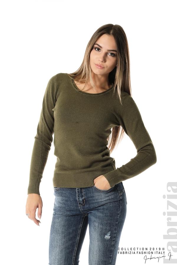 Дамска изчистена блуза с дълъг ръкав каки 1 fabrizia