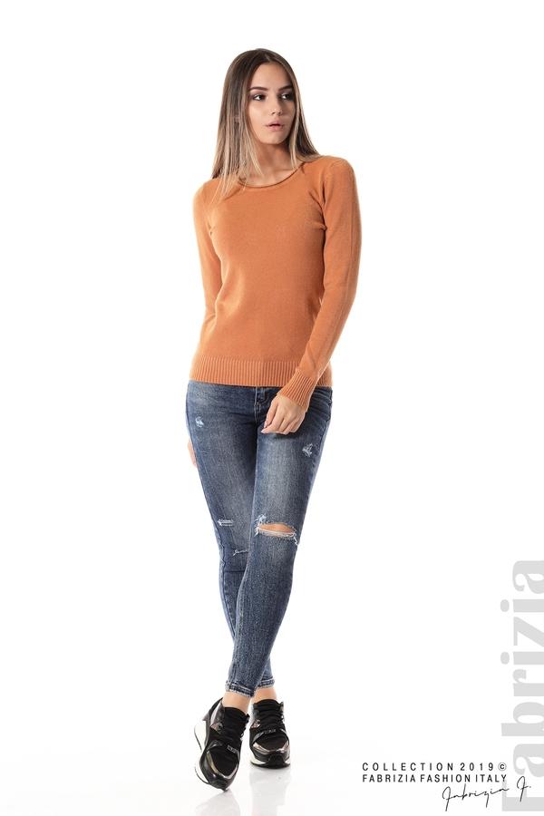 Дамска изчистена блуза с дълъг ръкав св.кафяв 2 fabrizia