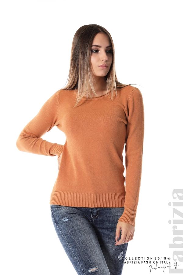Дамска изчистена блуза с дълъг ръкав св.кафяв 1 fabrizia