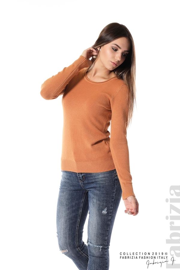 Дамска изчистена блуза с дълъг ръкав св.кафяв 3 fabrizia