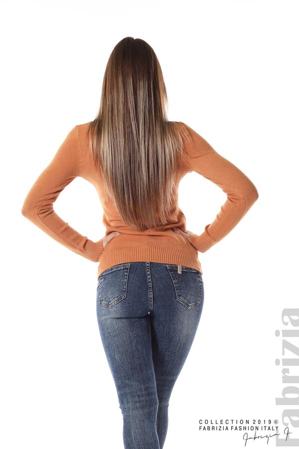 Дамска изчистена блуза с дълъг ръкав св.кафяв 4 fabrizia