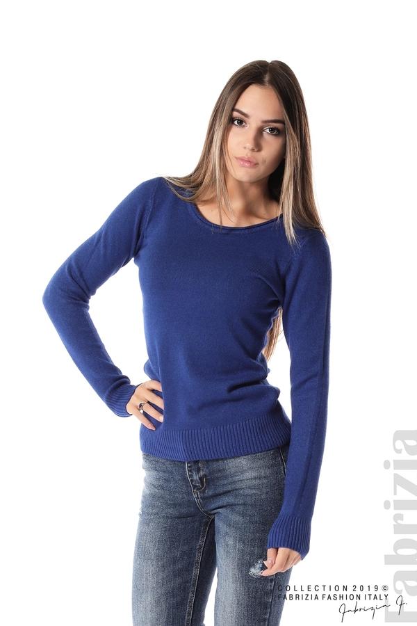 Дамска изчистена блуза с дълъг ръкав кр.син 1 fabrizia