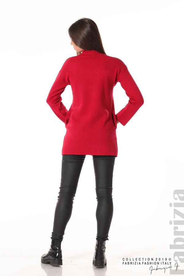 Дамска туника с ниска поло яка т.червен 5 Fabrizia
