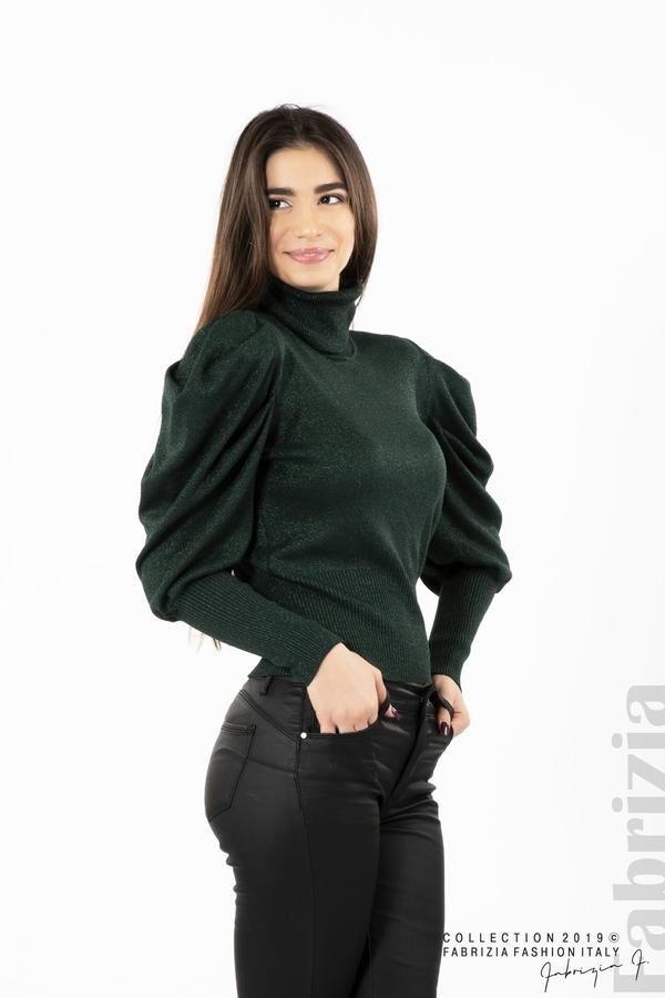 Дамско поло с буфан ръкави т.зелен 1 fabrizia