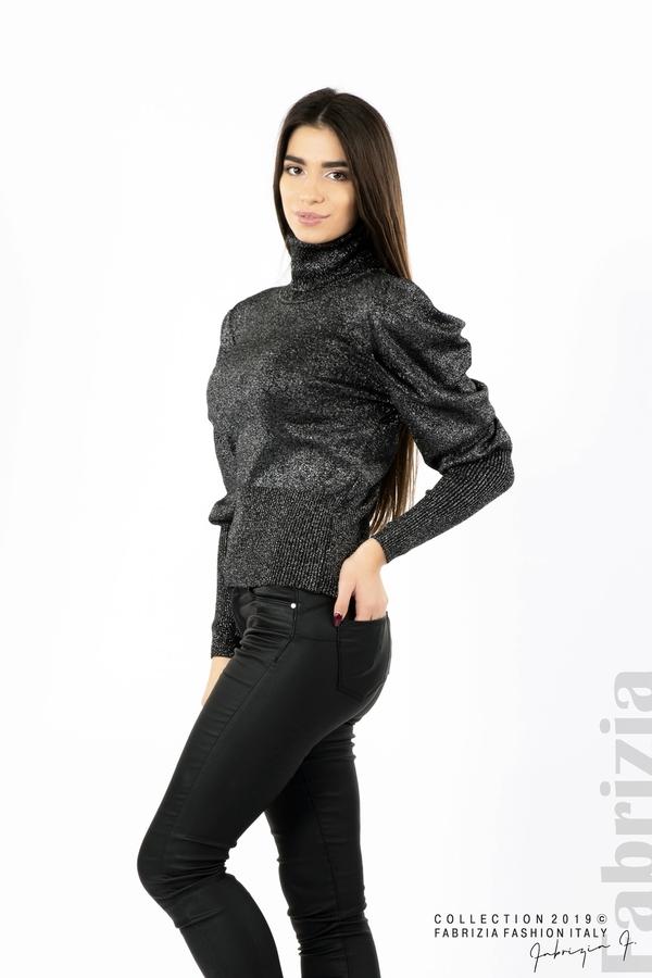 Дамско поло с буфан ръкави черен/сребрист 3 fabrizia
