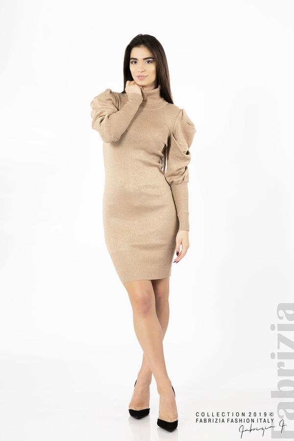 Дамска рокля с ламе бежов 2 fabrizia