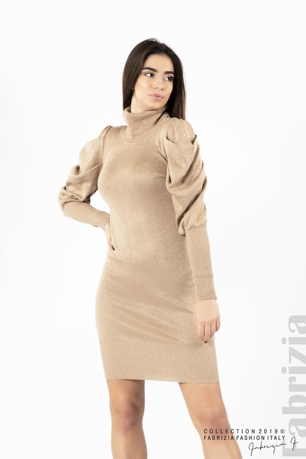 Дамска рокля с ламе бежов 1 fabrizia