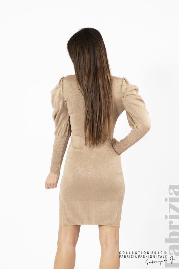 Дамска рокля с ламе бежов 4 fabrizia