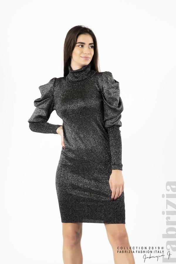 Дамска рокля с ламе бежов черен/сребрист 1 fabrizia