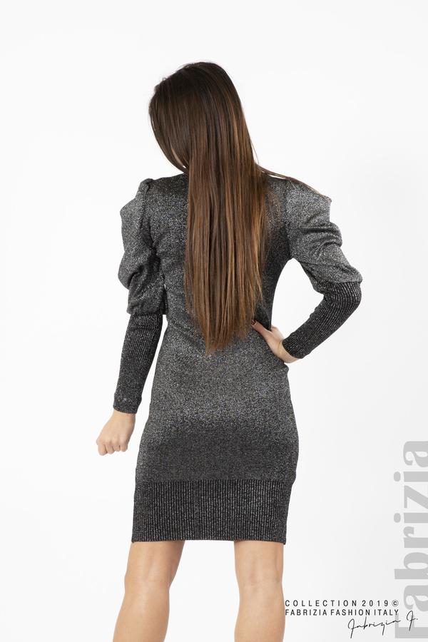 Дамска рокля с ламе бежов черен/сребрист 4  fabrizia
