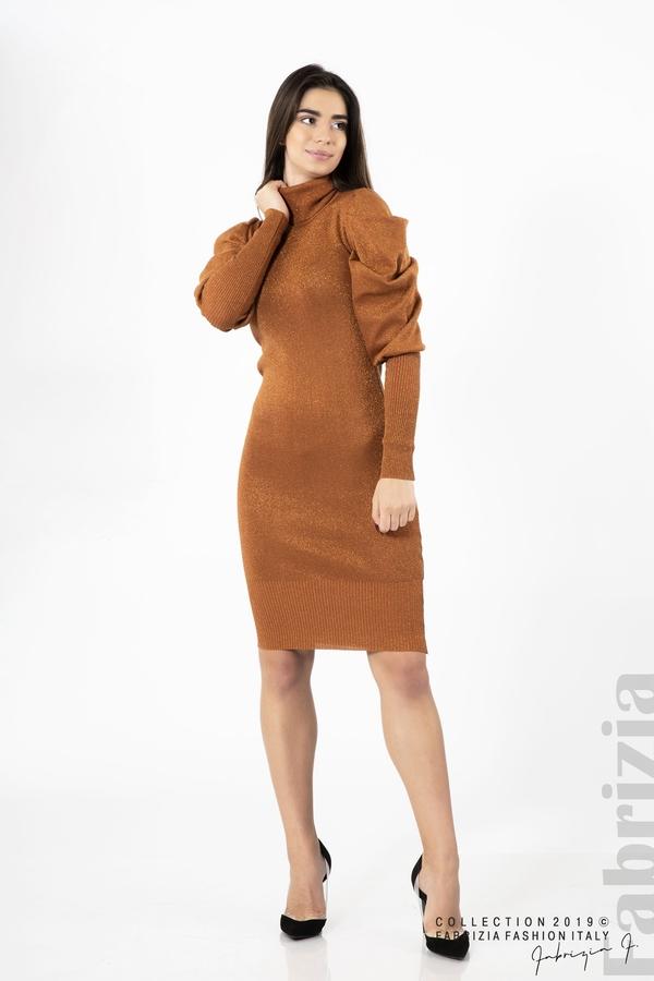 Дамска рокля с ламе бежов керемида 3  fabrizia