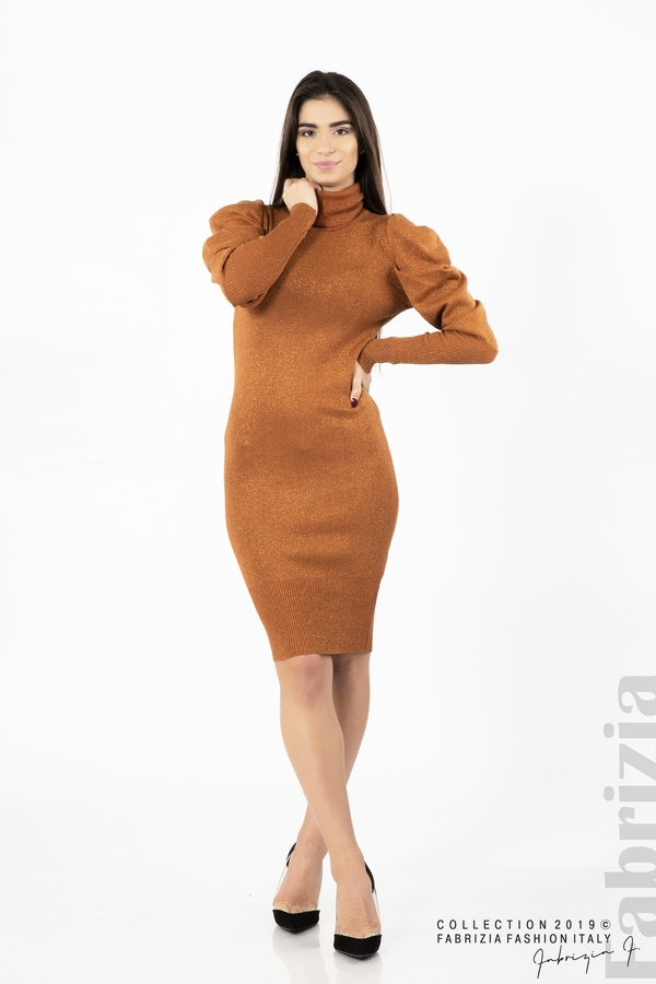 Дамска рокля с ламе бежов керемида 2  fabrizia