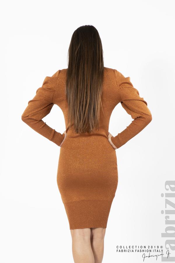 Дамска рокля с ламе бежов керемида 4  fabrizia