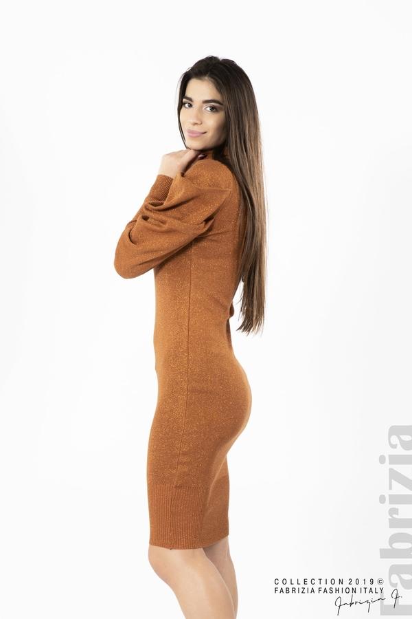 Дамска рокля с ламе бежов керемида 1  fabrizia
