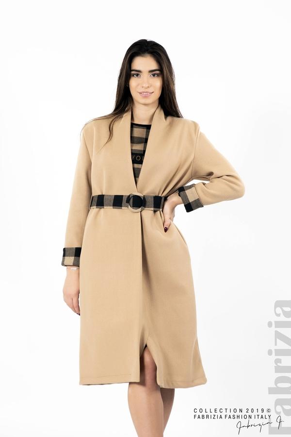 Дамско палто с колан бежов 1 fabrizia