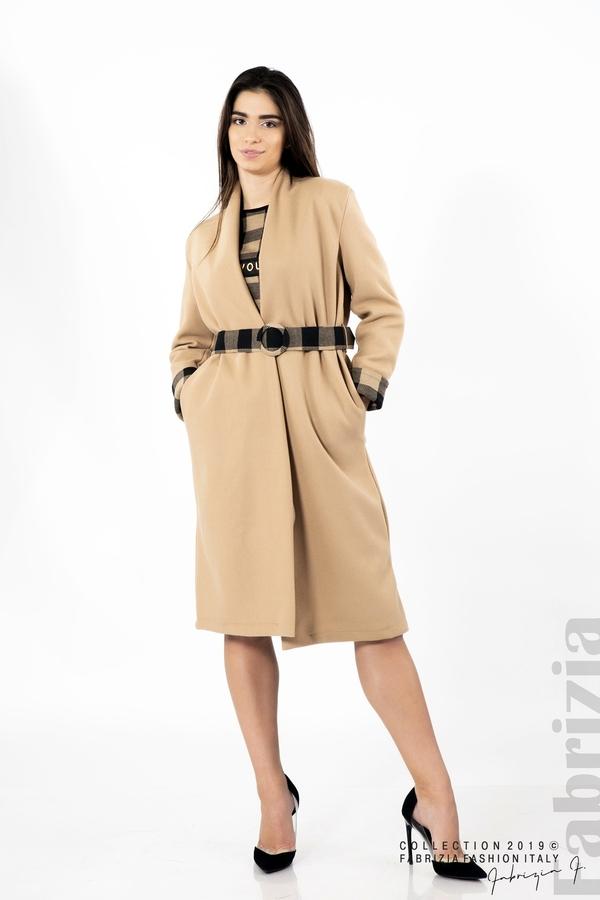 Дамско палто с колан бежов 2 fabrizia