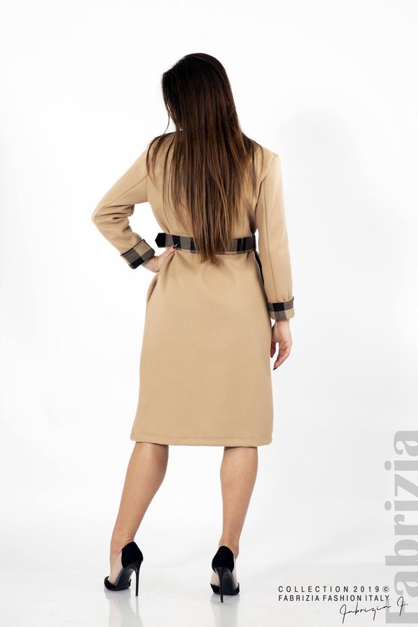 Дамско палто с колан бежов 3 fabrizia