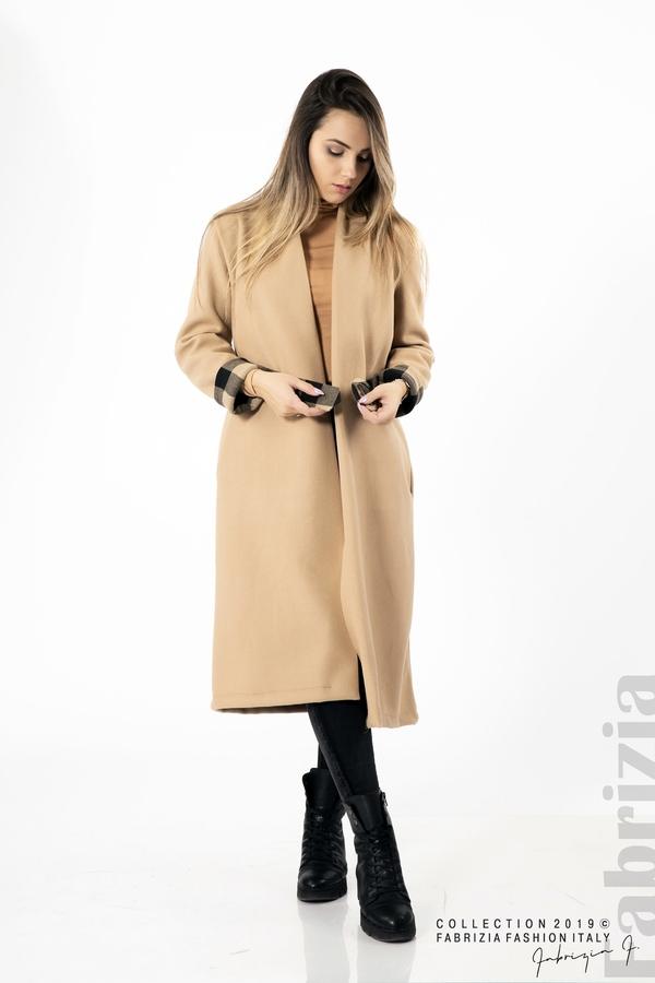 Дамско палто с колан бежов 4 fabrizia